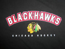 NHL Chicago Blackhawks Hockey Black Graphic Print T Shirt - Boy's 12-14