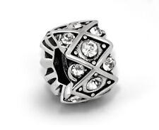 Alloy Spacer Charm European Bead with Rhinestones For European Charm Bracelets