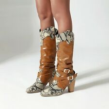 Women Cowboy Boots Snakeskin Pattern High Heel Booties Pointed Toe Fashion Shoes