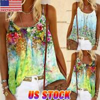 Women Summer Spaghetti Strap Cami T Shirt Vest Floral Camisole Tank Tops Blouse