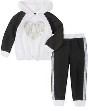 Calvin Klein Little Girls Hoodie And Joggers Set White/Black Size 5 MSRP $55 NWT