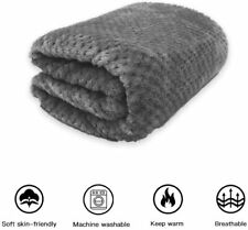 "Premium Fluffy Fleece Dog Blanket Size L 59""x40� Gray Washable Cat Warm Blanket"