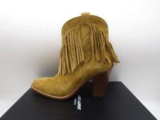 Saint Laurent Classic New Western 80 Suede Ankle Boots Fringe 40 10