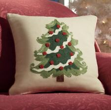 Christmas Tree Cream Embroidered 18in Sq Farmhouse Cotton Accent Throw Pillow