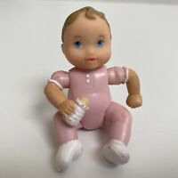 Fisher Price Loving Family Dollhouse Twin Pink Baby Girl Doll w/ Bottle Figure