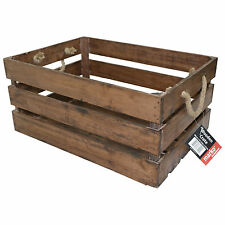 VINTAGE WOODEN STORAGE CRATES SLATTED HAMPER WINE BOTTLE APPLE FRUIT FOOD BOXES