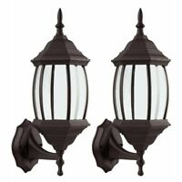 2x Retro Antique Outdoor Exterior Wall Lantern Lamp Fixture Sconce Porch Light