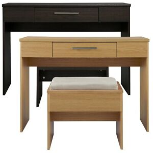 Modern Oak Bedroom Vanity 1 Sliding Drawer Storage Dressing Table With Stool Set
