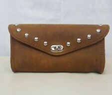Handmade Crazy Horse Brown Single Pouch Leather Windshield Bag w/ Studs Harley