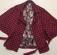 Steve Madden Owl Lining Pink & Black Houndstooth Cape Jacket Sz M/L