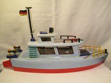 Modellbau : Erzgebirge Holz Schiff Modell / Maritime Dekoration + Figuren