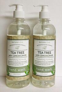 2 Bottles Nature Love ~ Tea Tree & Lemongrass Nourishing Hand Wash 16 fl oz Each
