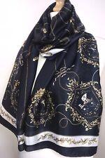 Designer Inspired Scarf Pashmina Silky Soft Feel Navy Gold White Oversized NEW