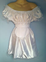 french maid dress+piny cosplay sissy adult baby white satin fetish slave 8-24