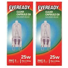 2 x Eveready G9 Bulb 25W Halogen Capsule 250 Lumens 220V Clear Lamp
