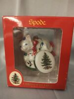 Spode Cat With Christmas Lights Hat Box Hanging Porcelain Ornament 2009 NIB