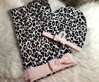 NWT Kate Spade NY Leopard Cheetah Jacquard Bow Hat & Scarf Set In Pastry Pink