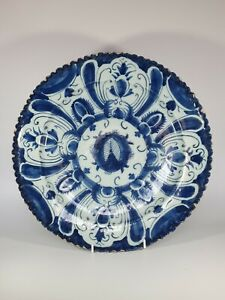 A Large 18th Century Dutch Delft Tin Glazed Charger