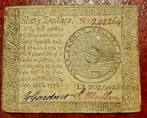 1778 $60 AMERICAN REVOLUTION CONTINENTAL CURRENCY ~ CHOICE ABOUT UNCIRCULATED