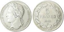BELGIQUE  LEOPOLD  I°  ,  5  FRANCS  ARGENT  LAURÉE  1849