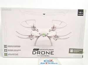 WiFi Adventurer Drone with Camera, White. Smartphone Control Toy - NEW