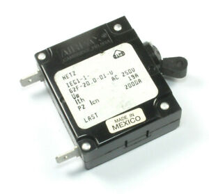 Airpax Circuit Breaker  20A 250vac, MPN: IEG1-162F-20.0-01-V