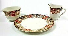 Milk Jug , Sugar Bowl &  Tea Cake Plate Trio Bone China Floral Leaf England