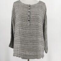 Pure J Jill Linen Top Henley Oversize 3/4 Sleeve Pockets Gray Size Petite Small