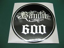 1 Bandit 600 Relentless Style Chrome on black circular Sticker 100mm Diameter