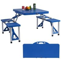 Folding Camping Table And Bench Set Outdoor Plastic Weatherproof Light Weight