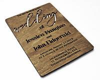 Wood Wedding Invitation Wooden Marriage Invitation invites set Rustic Save Date