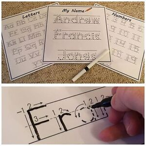 Learn To Write your Name. Easy wipe & Reusable (Personalised Teaching Aid)