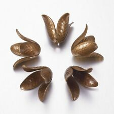 5PCS 4-Petal Brass Flower Bead Caps For DIY Craft Jewelry Making Antique Bronze