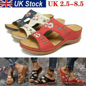 Womens Ladies Wide Fit Flat Sandals Wedges Slippers Flip Flops Mules Shoes NEW