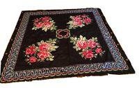 "Vintage Large Country Victorian Rose Print Black Fringe Scarf Gypsy Hijab 34"""