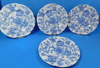 "4 Vintage English Chippendale Blue Dinner Plates 10"" Johnson Bros England"