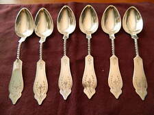 Sterling Silver Teaspoons (6) Six Twist Handle Duhme  925 Spoons Circa 1860's