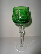 AJKA CRYSTAL FOREST GREEN Cut to Clear HOCK WINE GLASS Hungary