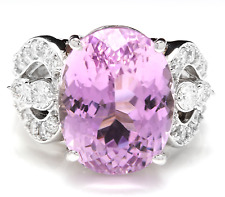 15.05 Carats NATURAL KUNZITE and DIAMOND 14K Solid White Gold Ring