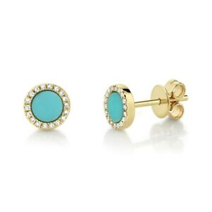 Turquoise Diamond Stud Earrings 14K Yellow Gold Round Circle 0.55 TCW
