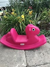 Little Tikes Tykes Rocking Horse Pony Chair Toy Ride On Rocker Pink Magenta RARE