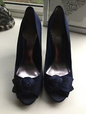 Ladies Blue Satin Dress Shoe Size UK 6 / 39