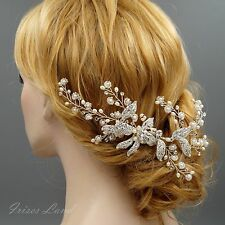 Bridal Hair Comb Freshwater Pearl Crystal Headpiece Wedding Accessories 09873 S