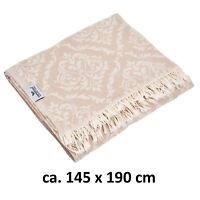 Plaid Tagesdecke BAROCK beige natur nude Couchdecke Sofa Decke 145 x 190 Cotton