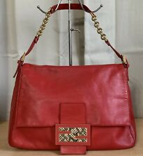 FENDI Red Leather Mama Forever Gold Tone Large FF Flap Shoulder Bag Purse