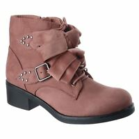 WOMENS LADIES FLAT LOW BLOCK HEEL BUCKLE STUD ZIP CHELSEA ANKLE BOOTS SHOES SIZE