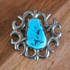 Arnold Maloney Marked M Sterling Silver Turquoise Native American Navajo Brooch