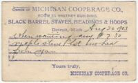 1903 Detroit Michigan Cooperage Co. Barrel Staves Headings & Hoops Mailing Card