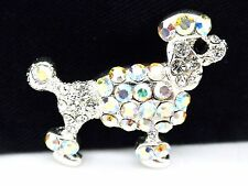 Puppy Dog Pin Poodle Brooch Women's AB Austrian Crystal Silver Plated