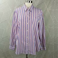 Ralph Lauren Plus Size 2X 18/20 Shirt Button Down Red Blue Stripe Professional